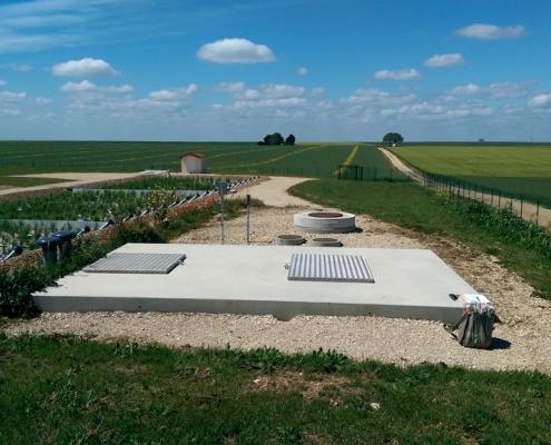 Station épuration filtres plantés dans la commune de CHARRAIS